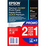 Epson Premium Glossy - Papel fotográfico A6, 10 x 15 cm, 2 x 40 hojas, 255 g - Glacé