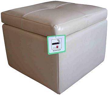 Leather Storage Footstool Pouffe Ottoman CreamIvory Amazonco