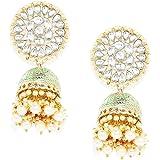 Kord Store Rajwadi Mint Minakari White Kundan Gold Plated Jhumka Earrings with Moti Hanging For Women And Girl