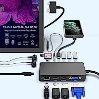 Surface Pro Dock per Hub USB Surface Pro 4 / Pro 5 / Pro 6 con porta Gigabit Ethernet, porta display HDMI VGA DP 4K, 3…