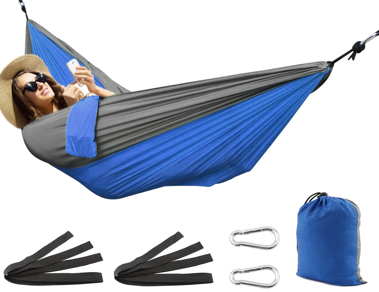 SueH Design Double Hammock, Lightweight Parachute Nylon Hammock for Hiking, Travel, Backpacking, Beach, Yard, Camping