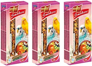 Vitapol Fruit Smakers for Budgies, with Best Quality Seeds, Fruits & High Quality Berries for Protein, 270 GMS, Pack of 3 (90 GMS Each) (3 Pack)