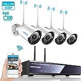 Kit de vidéo surveillance sans fi, SZSINOCAM Système Caméra de Surveillance 2.4G, Système Caméra de Sécurité avec NVR et 4 Caméras WIFI 1080P,Antenne sans fil améliorée(disque dur interne non compris)