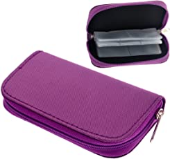 Foxnovo Portable 22 Slots SD SDHC MMC CF Micro SD Memory Card Holder Pouch Case Zippered Storage Bag Protector (Purple)