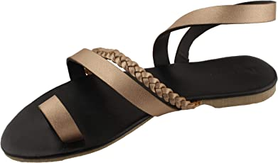 Foot Wagon Rose Gold Braided Flats | Black Slippers |Cross Straps |Toe Flats |Ladies Sandal |Straps|Women Flats | Ladies Slippers |Girls Slippers |Strap Flats| Chappals|