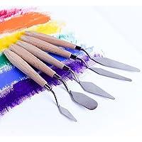 Fuumuui 5 pcs Peinture Couteau Ensemble Palette Couteau Peinture Outils Peinture mélange grattoir spatule en Acier…
