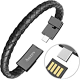 Auzev Type-C Leather Bracelet Link Charging Cable Braided Wrist Band USB Sync Data Charger Cord for Samsung Galaxy (Black, L(