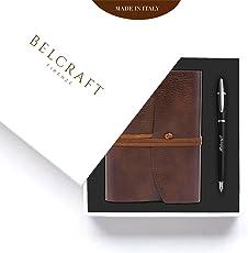 Belcraft Angebot Geschenk Set bestehend aus Braun Notizbuch/Tagebuch, Eleganter Füllfederhalter in einem Geschenkschachtel, Handgearbeitet in klassischem Italienischem Stil
