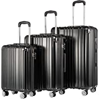COOLIFE Expandable Suitcase(Only L Size Expandable) Hardshell Luggage Lightweight Durable PC+ABS Material with TSA Lock and 4 Spinner Wheels (Black, 3-Piece Set)