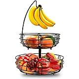 Corbeille à fruits en fil métallique à 2 étages Avec porte-bananes, corbeille à fruits contemporaine - Corbeille à fruits Pou