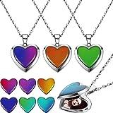 4 Collares Medallón de Humor de Corazón Collar Sentimiento Cambiante Color de Colgante Corazón Collares de Acero Inoxidable e