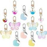 Pajaver 12 Pcs Keychain Pendant, Love Heart Butterfly Key Ring for Handbags Phone Wallets Purse, Key Holder Keyring for Women