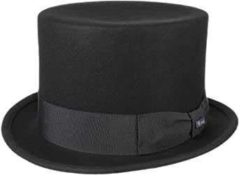 Lipodo Cilindro in Feltro Nero Unisex - Cappello in Feltro di Lana Made in Italy - Cappello da Matrimonio con Fascia in Gros-Grain - Cappello Estate/Inverno - Tuba in Feltro