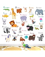 StickMe 'Animal Alphabets Kids Learning Education Nursery Pre School Kinder Garden Wall Sticker' for Baby (PVC Vinyl, 100 X 100 cm, Multicolour)