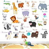 StickMe 'Animal Alphabets Kids Learning Education Nursery Pre School Kinder Garden Wall Sticker' for Baby (PVC Vinyl…