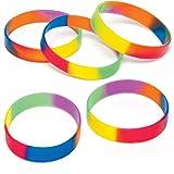 Baker Ross AG758 Regenboog-armbanden van rubber voor kinderen als kleine verrassing of als prijs bij partyspelletjes (10 stuk