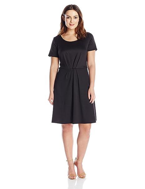 Star Vixen Womens Plus-Size Short-Sleeve Belted Ponte Skater Dress