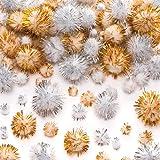 Baker Ross Pompons à Paillettes dorées et argentées (Lot de 100) - Loisirs créatifs et décorations de Noël pour Enfants