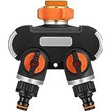 """johgee 2-weg slangsplitser, 3/4 """"en 1/2"""" kraanverdeler met adapter voor tuinterrigatiecomputer, verstelbare waterstroom (2-we"""