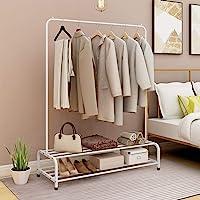 JURMERRY Portant Penderie à vêtements Tringle Meuble Métal Porte-Manteau étagère pour Chaussures Rangement(Blanc)