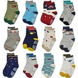Toddler Non Skid Boy Socks - 12 Pairs Infant Baby Kid Children Grips Socks for 1-7 Years Old Girl Socks