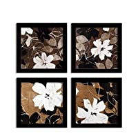 Painting Mantra - Flower Set of 4 Black Framed Painting,UV Textured Art Prints (9 x 9 inch)