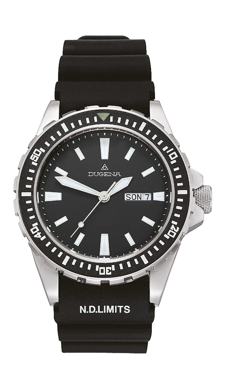 Dugena 4167821 - Reloj analógico de caballero de cuarzo con correa de goma negra - sumergible a 200