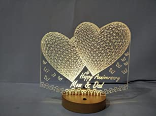 DESIGNELLE Personalised 3D Illusion led lamp Single Colour 8-10 inch Height