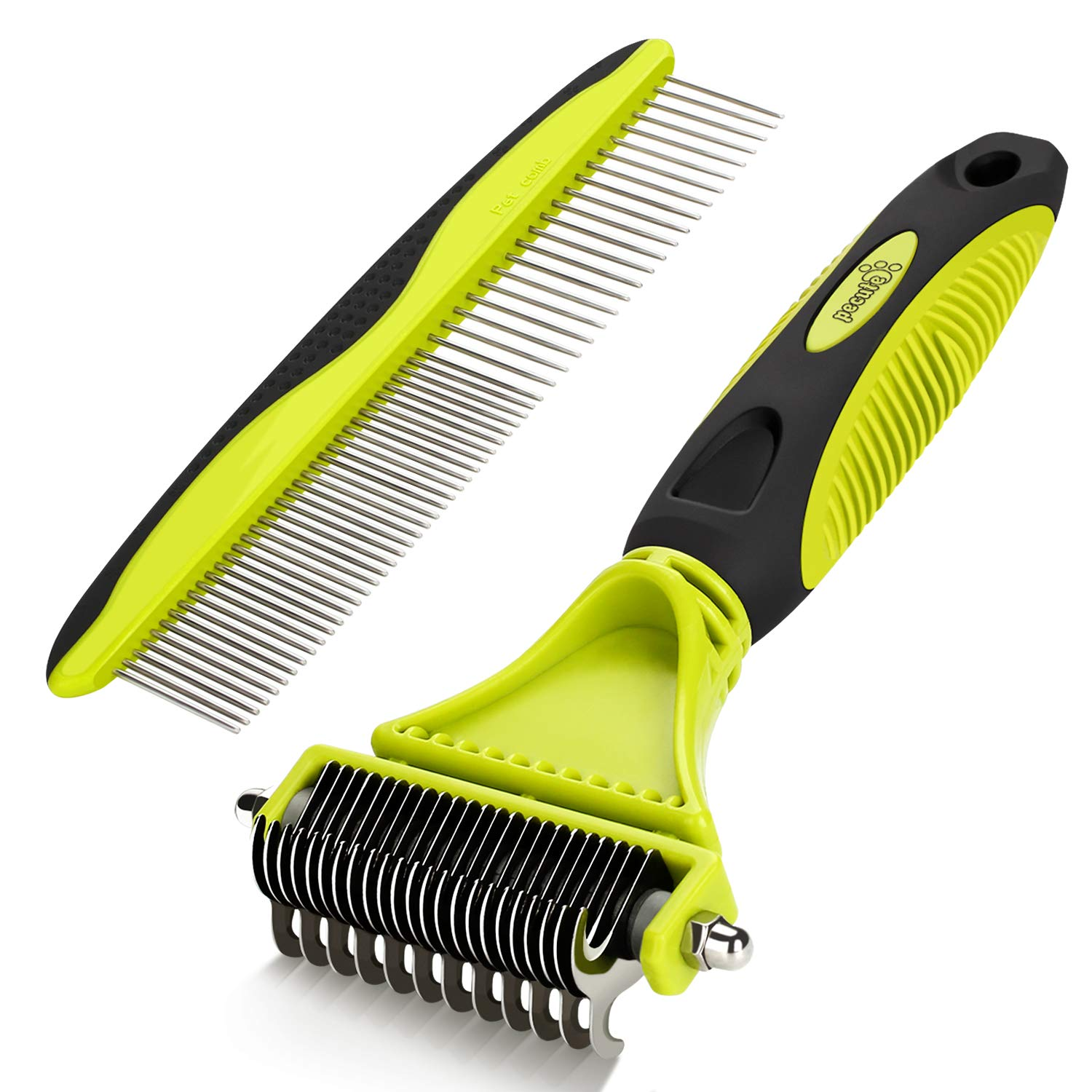Pecute Grooming Dematting Comb Tool Kit – Double Sided Blade Rake Comb Grooming Comb – Removes Loose Undercoat, Knots, Mats and Tangled Hair
