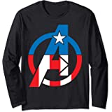 Marvel Avengers Captain America Costume Fill Logo Manche Longue