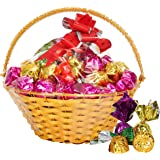 Chocoloony Chocolate Golden Basket Gift Pack with 35 pcs Milk Chocolate (210gm) for Gift Sister, Wife and Girlfriend
