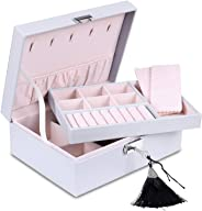 misaya Jewelry Organizer Box - Women Display Storage Case Large PU Leather Jewelry Holder with Lock for Earring Ring Necklac