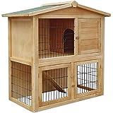 lionto by dibea Clapier bois pour lapins Petit enclos animaux Clapier d'extérieur 98x54x100 cm