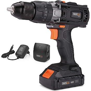 TACKLIFE PCD04C Trapano Avvitatore Bateria 18V con Percussione Elettrico, 35N.m Max, Batterie al Litio, 13mm Mandrino da Coppia, 2 Velocità,16 regolazioni