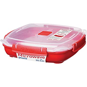 Sistema Microwave Plate with Removable Steaming Tray, Red/Clear, 880 ml