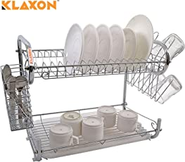 Klaxon Stainless Steel Kitchen Organizer / Dish Drainer ,2 Tier - 430*120*260 mm - Chrome Finish