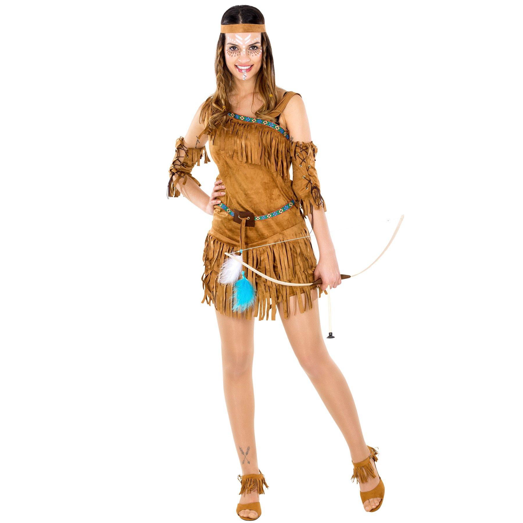 4a2cd1585be763 TecTake-Damenkostm-sexy-Indianerin-Kleid-wundervolles-Haarband-und-. Indianer  Kostüme kaufen