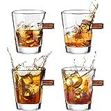 Kollea Bicchieri Whisky, 4 Pezzi Shot Glass Whisky Set con Proiettile Reale 308, Bicchieri Whisky Cristallo Soffiato a Mano,