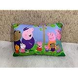 Dev Enterprises Cartoon Pig Printed Kids Velvet Pillow 12x18 Inches Multicolor
