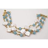 bracciale fatto a mano tre fili perle scaramazze coltivate e pietre dure di angelite