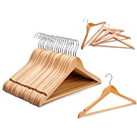 STAR WORK Multi Functional Solid Wooden Natural Finish Hangers for Coat, Suit with 2 Shoulder Notches 360 Degree Swivel…