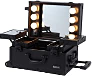 MAYLAN Makeup Cosmetic Train Case With Mirror And Lights, Mini Size Black
