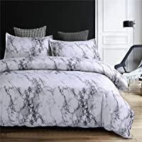NTBED Marble Duvet Cover Sets Queen with 2 Matching Pillow Covers Lightweight Microfiber Quilt Cover Printed Bedding…