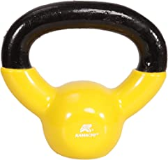 KAMACHI Solid Cast Iron PVC Coated Vinyl Kettlebell