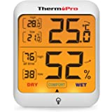 ThermoPro TP53 Hygrometer Digital Indoor Room Lab Greenhouse Thermometer Temperature Humidity Monitor Gauge Indicator…