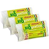 Virosac - Biopratico - Sacchetti per rifiuti biodegradabili 35x42, con maniglie estraibili, 10 pezzi per rotolo, kit da 3 rot