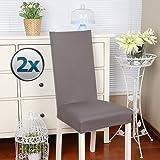 BalladHome Stuhlhussen 2 Stück, Stretch-Stuhlbezug elastische Moderne Husse Elasthan Stretchhusse Stuhlbezug Stuhlüberzug bi-Elastic Spannbezug, sehr pflegeleicht und langlebig Universal -Taupe