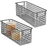 mDesign panier de rangement (lot de 2) – corbeille de rangement profonde en métal – panier métal compact, en métal avec poign