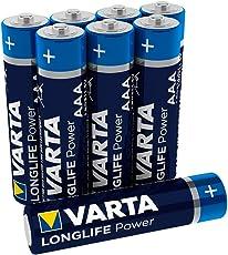 Varta Longlife Power Batterie AAA Micro Alkaline Batterien LR03-8er Pack (Design/Produktname kann abweichen)