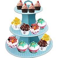 Présentoir Gâteau Carton, 3 Supports Présentoir à Cupcakes, Tour D'affichage Cupcake Plateau Pour Le thé L'après-Midi…